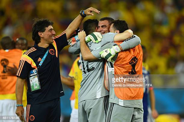 Players of Colombia congratualte Faryd Mondragon of Colombia after the 2014 FIFA World Cup Brazil Group C match between Japan and Colombia at Arena...