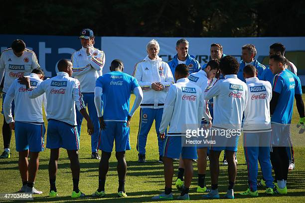 Players of Colombia during a training session at San Carlos de Apoquindo training camp on June 13, 2015 in Santiago, Chile. Colombia will face...
