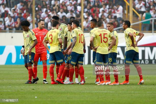 Players of Colombia gather during a friendly match between Peru and Colombia at Estadio Monumental de Lima on June 9 2019 in Lima Peru