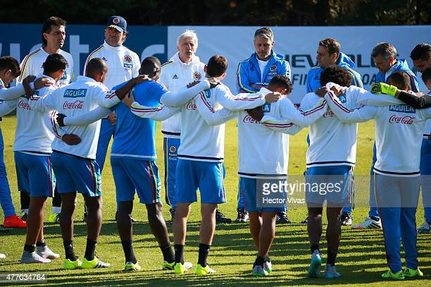 Players of Colombia gather during a training session at San Carlos de Apoquindo training camp on June 13, 2015 in Santiago, Chile. Colombia will face...