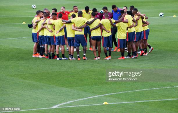 Players of Colombia gather during the Colombia Training Session at Pacaembu Stadium on June 27, 2019 in Sao Paulo, Brazil.