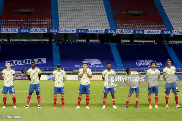 Players of Colombia line up during the anthem ceremony prior a match between Colombia and Venezuela as part of South American Qualifiers for Qatar...