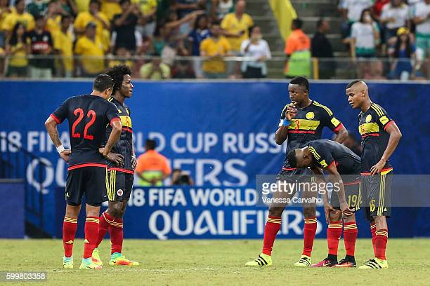 Players of Colombia look dejected after a match between Brazil and Colombia as part of FIFA 2018 World Cup Qualifiers at Arena Amazonia Stadium on...