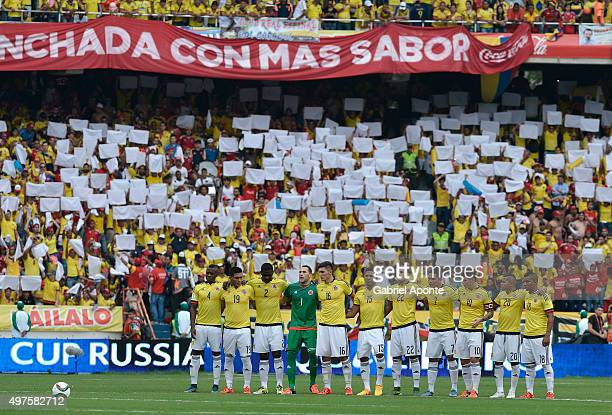 Players of Colombia observe a minutesilnce during the formal events prior a match between Colombia and Argentina as part of FIFA 2018 World Cup...