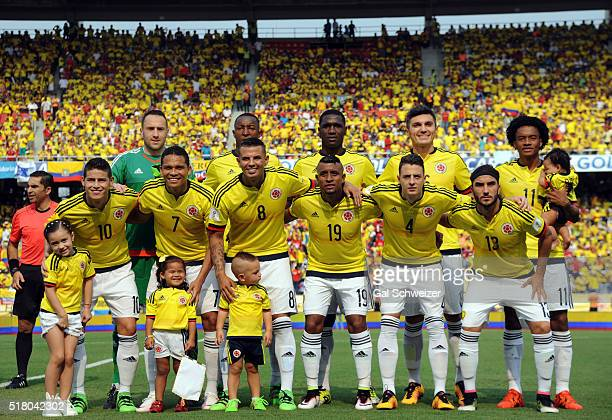 Players of Colombia pose for a picture prior to a match between Colombia and Ecuador as part of FIFA 2018 World Cup Qualifiers at Roberto Melendez...