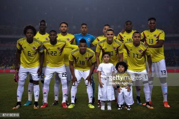 Players of Colombia pose for a team photo prior to the International Friendly Football Match between China and Colombia at the Chongqing Olympic...