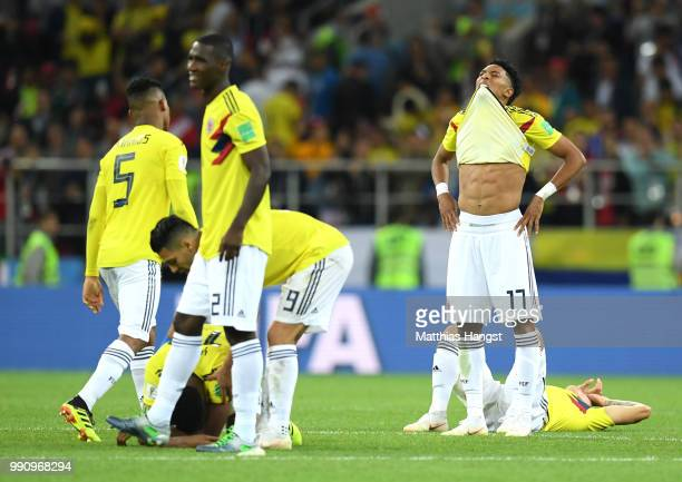 Players of Colombia show their dejection following the 2018 FIFA World Cup Russia Round of 16 match between Colombia and England at Spartak Stadium...