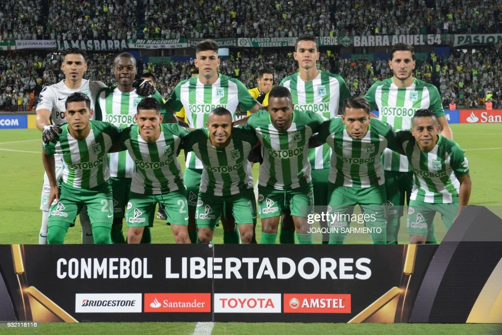 Players Of Colombias Team Atletico Nacional Pose For Pictures Before Their Copa Libertadores Football Match Against
