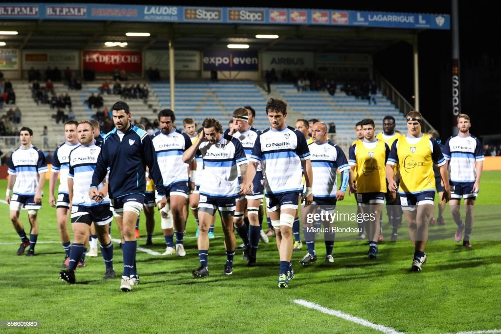 Players of Colomiers during the Pro D2 match between Colomiers and Vannes on October 6, 2017 in Colomiers, France.