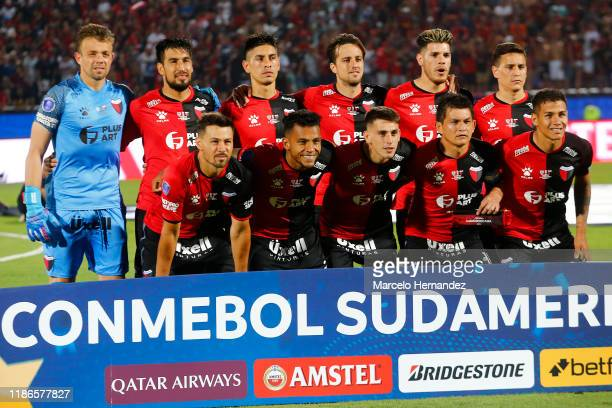 Players of Colon pose for the team photo prior to the final of Copa CONMEBOL Sudamericana 2019 between Colon and Independiente del Valle at Estadio...