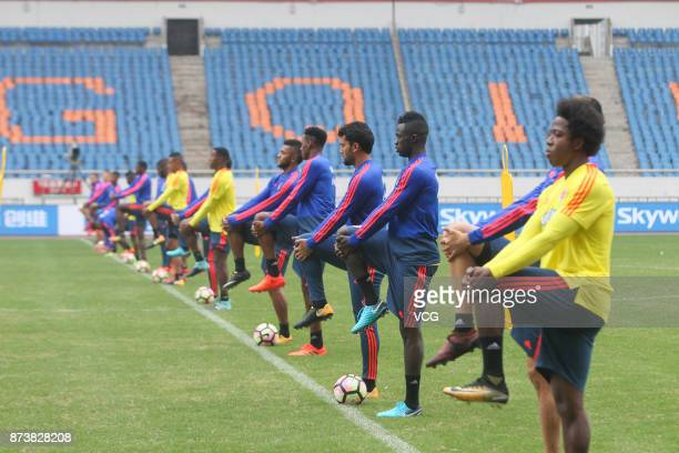 Players of Columbia in action during a training session before an international friendly football match between China and Columbia on November 13...