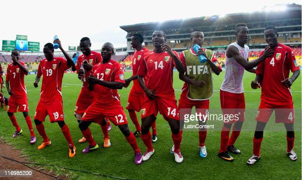 Players of Congo celebrate the victory during a match between Congo and Holland as part of the Group A of the FIFA U-17 World Cup Mexico 2011 at the...