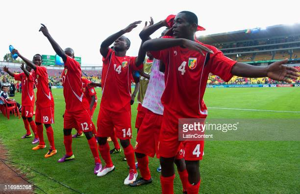 Players of Congo celebrate the victory during a match between Congo and Holland as part of the Group A of the FIFA U17 World Cup Mexico 2011 at the...