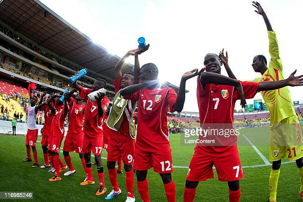 Players of Congo celebrates the victory during a match between Congo and Holland as part of the Group A of the FIFA U-17 World Cup Mexico 2011 at the...