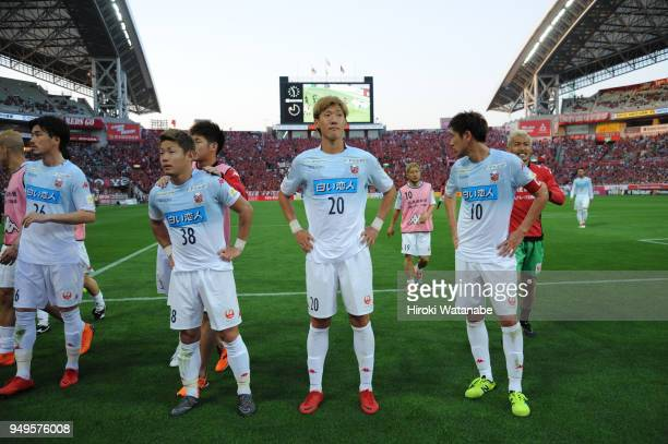 players of Consadole Sapporo looks on after the JLeague J1 match between Urawa Red Diamonds and Consadole Sapporo at Saitama Stadium on April 21 2018...