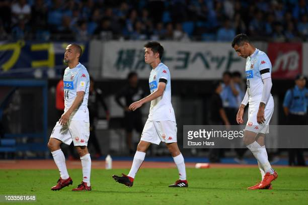 Players of Consadole Sapporo show dejection after their 07 defeat in the JLeague J1 match between Kawasaki Frontale and Consadole Sapporo at Todoroki...