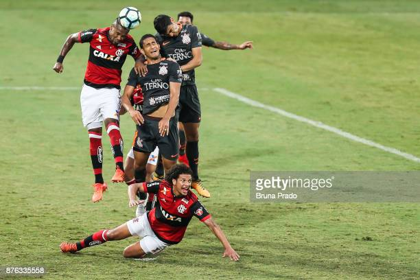 Players of Corinthians and Flamengo struggles for the ball during the Brasileirao Series A 2017 match between Flamengo and Corinthians at Ilha do...