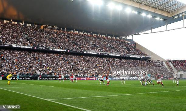 Players of Corinthians and of Flamengo in action during the match between Corinthians and Flamengo for the Brasileirao Series A 2017 at Arena...