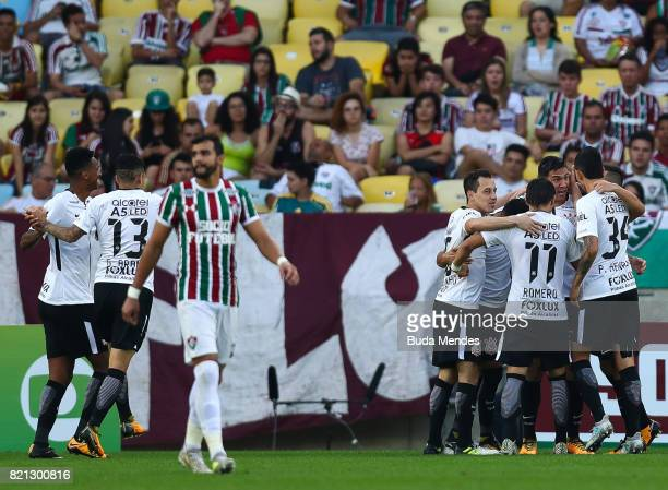 Players of Corinthians celebrate a scored goal during a match between Fluminense and Corinthians as part of Brasileirao Series A 2017 at Maracana...
