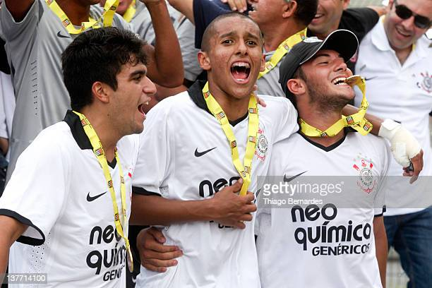 Players of Corinthians celebrate the title after the final match of the Copa de Juniores 2012 at the Pacaembu stadium on January 25 2012 in Sao Paulo...