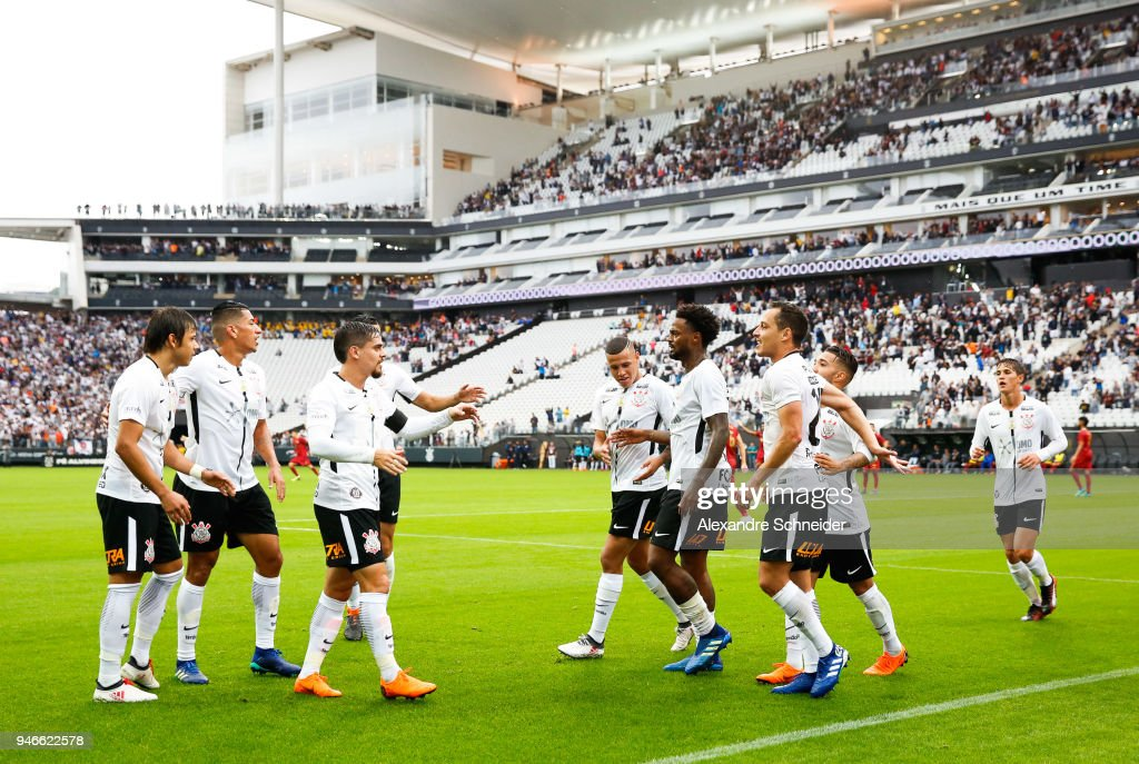 Players of Corinthinas celebrate after scoring their first goal during the match against Fluminense for the Brasileirao Series A 2018 at Arena Corinthians Stadium on April 15, 2018 in Sao Paulo, Brazil.