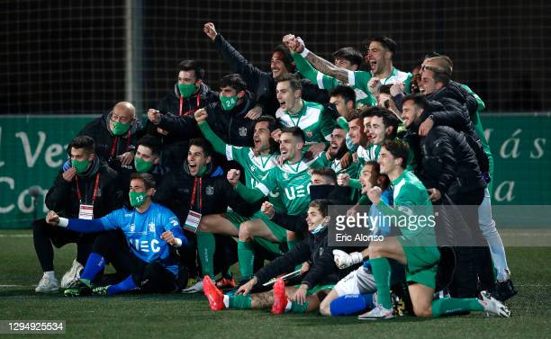 Players of Cornella celebrate victory after the Copa del Rey match between Cornella and Atletico de Madrid at Camp Municipal de Cornella on January...