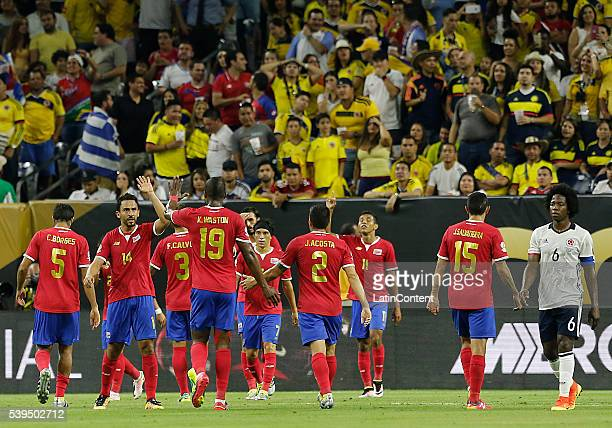 Players of Costa Rica celebrate an own goal on Colombia scored by Frank Fabra during a group A match between Colombia and Costa Rica at NRG Stadium...