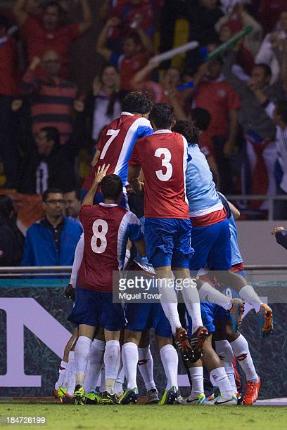 Players of costa Rica celebrate their second goal during a match between Costa Rica and Mexico as part of the CONCACAF Qualifiers at National Stadium...