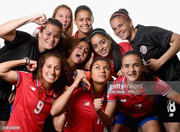 Players of Costa Rica joke during the FIFA Women's World Cup 2015 portrait session at Sheraton Le Centre on June 6 2015 in Montreal Canada