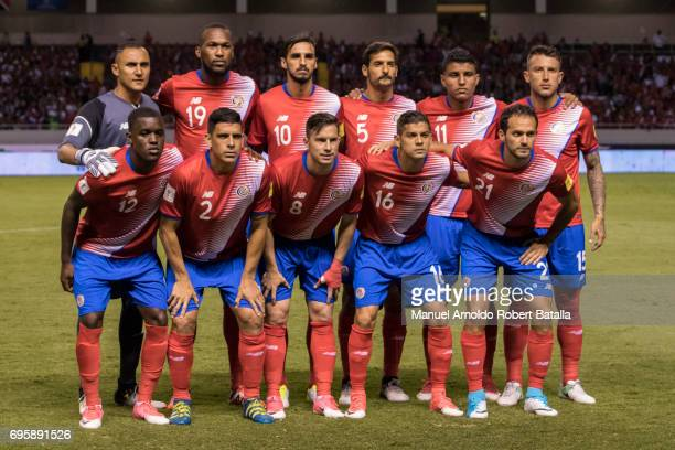 Players of Costa Rica pose for a photo prior a match between Costa Rica and Trinidad Tobago as part of the FIFA 2018 World Cup Qualifiers at National...