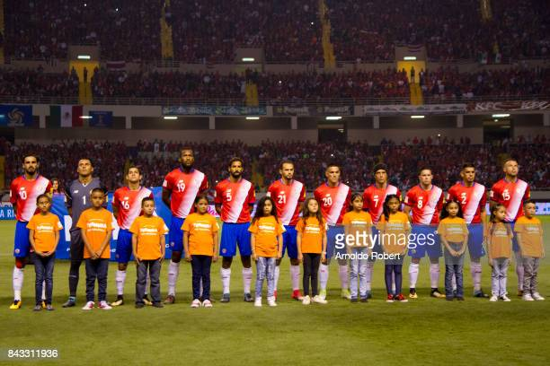 Players of Costa Rica pose for a photo prior a match between Costa Rica and Mexico as part of the FIFA 2018 World Cup Qualifiers at Nacional de Costa...