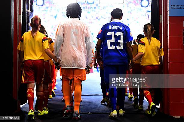 Players of Cote d'Ivoire and Thailand are seen in the tunnel during the FIFA Women's World Cup 2015 Group B match between Cote d'Ivoire and Thailand...