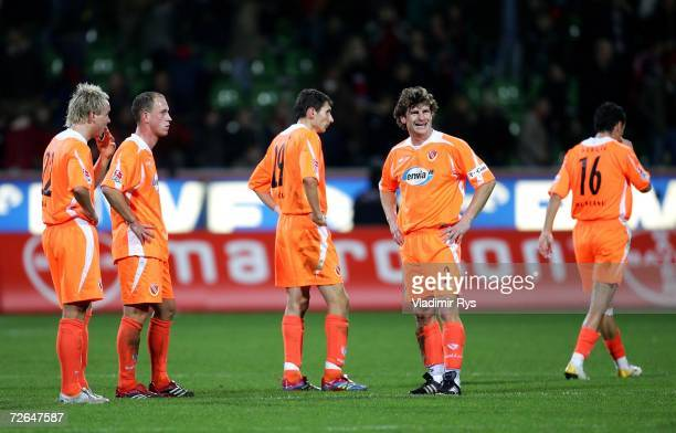 Players of Cottbus look dejected after losing 3:1 the Bundesliga match between Bayer Leverkusen and Energie Cottbus at the BayArena on November 26,...