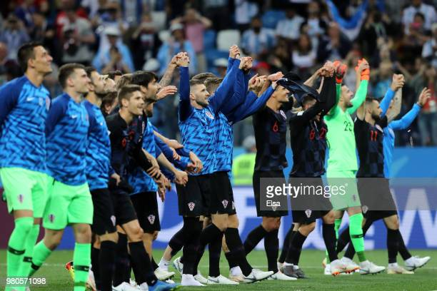 Players of Croatia acknowledges the fans folowing the 2018 FIFA World Cup Russia group D match between Argentina and Croatia at Nizhny Novgorod...