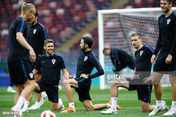 Players of Croatia attend a training session ahead of the 2018 FIFA World Cup Russia semi final match between Croatia and England at the Luzhniki...