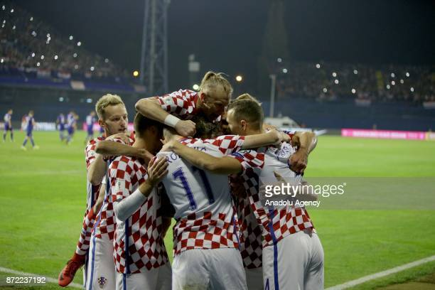 Players of Croatia celebrate a goal during the 2018 FIFA World Cup playoff qualification football match between Croatia and Greece at the Maksimir...