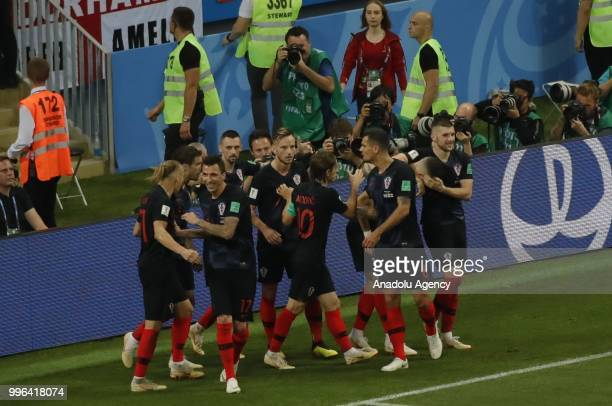 Players of Croatia celebrate after a goal during the 2018 FIFA World Cup Russia semi final match between Croatia and England at the Luzhniki Stadium...