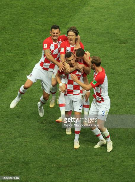 Players of Croatia celebrate after a goal scored by Ivan Perisic to tie during the 2018 FIFA World Cup Russia Final between France and Croatia at the...