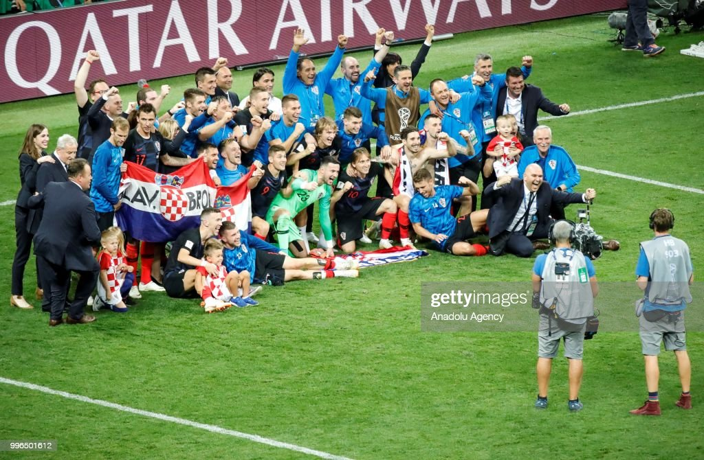 Players of Croatia celebrate after the 2018 FIFA World Cup Russia Semi Final match between England and Croatia at Luzhniki Stadium on July 11, 2018 in Moscow, Russia. Croatia have advanced to their first ever World Cup final after beating England 2-1.