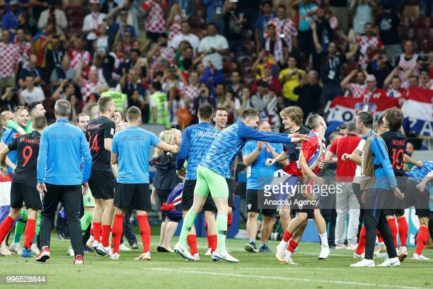 Players of Croatia celebrate after the 2018 FIFA World Cup Russia Semi Final match between England and Croatia at Luzhniki Stadium on July 11 2018 in...