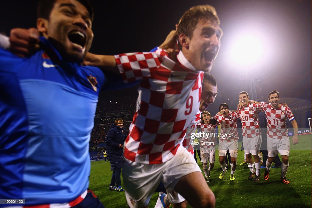 Players of Croatia celebrate after the FIFA 2014 World Cup Qualifier play-off second leg match between Croatia and Iceland at Maksimir Stadium on November 19, 2013 in Zagreb, Croatia.