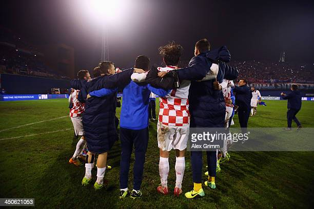 Players of Croatia celebrate after the FIFA 2014 World Cup Qualifier playoff second leg match between Croatia and Iceland at Maksimir Stadium on...