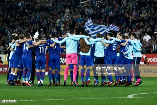 Players of Croatia celebrate after the World Cup Russia 2018 European Qualifiers match between Greece and Croatia in Piraeus near Athens Greece on...