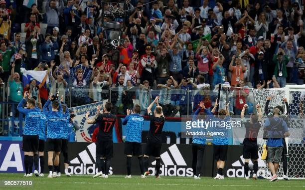 Players of Croatia celebrate after winning the 2018 FIFA World Cup Russia Group D match against Argentina at Nizhny Novgorod Stadium in Nizhny...