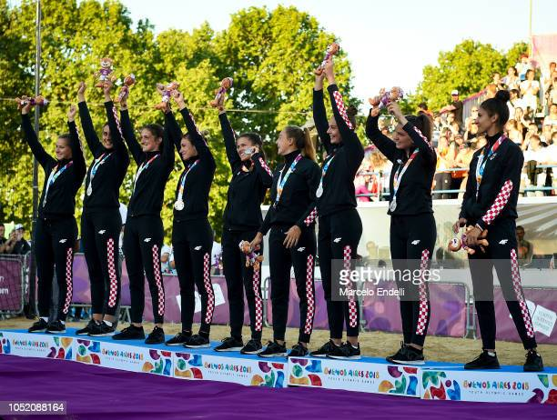 Players of Croatia celebrate in podium after winning the Silver medal during day 7 of Buenos Aires 2018 Youth Olympic Games at Green Park on October...