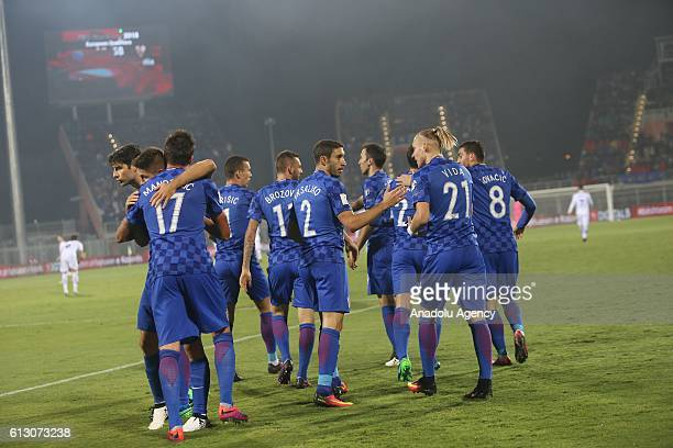 Players of Croatia celebrate their score during the World Cup 2018 qualifier football match between Kosovo and Croatia in Loro Borici stadium in...