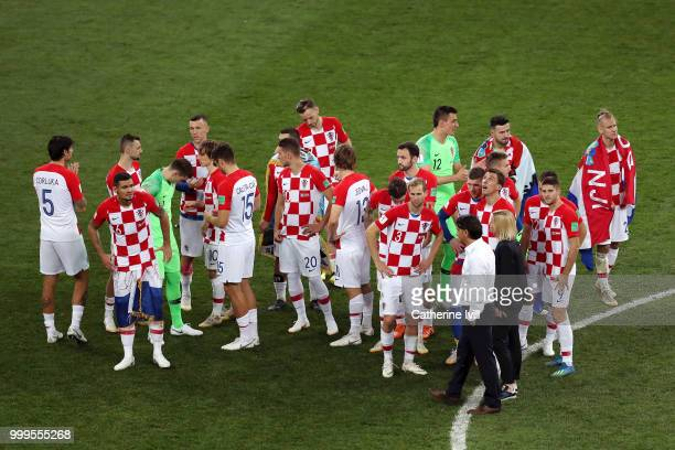 Players of Croatia looks dejected after the 2018 FIFA World Cup Final between France and Croatia at Luzhniki Stadium on July 15 2018 in Moscow Russia