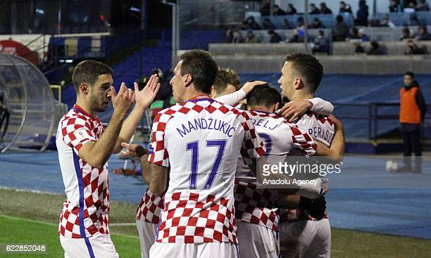 Players of Croatia national football team celebrate scoring a goal during the FIFA 2018 World Cup Qualifier Group I match between Croatia and Iceland...