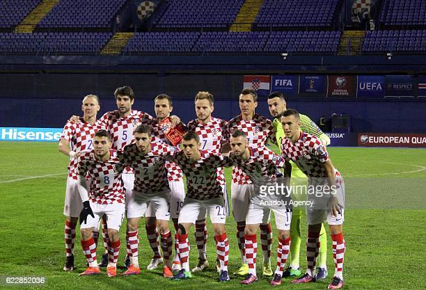 Players of Croatia national football team pose ahead of the FIFA 2018 World Cup Qualifier Group I match between Croatia and Iceland at Maksimir...