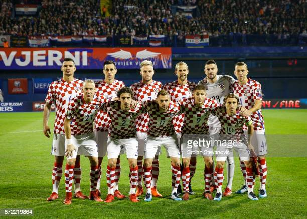 Players of Croatia national team pose for the photo prior to the FIFA 2018 World Cup Qualifier PlayOff First Leg between Croatia and Greece at...